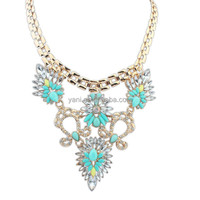 Famous brand thailand gemstones jewelry 2015 fine fancy rhinestones choker necklace