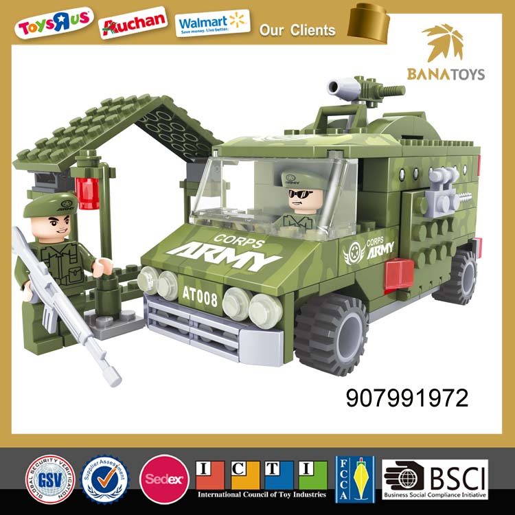 New design plastic small army car building blocks toys