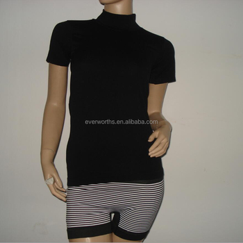 Manufacturer seamless clothing short sleeve turtleneck t shirt for women