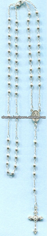 SILVER ROSARY NECKLACE