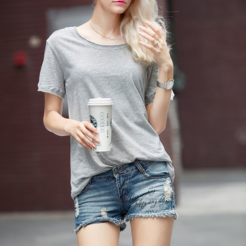 fashion plus size plain tee short sleeves women t shirts with round collar