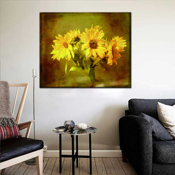 Home goods wall decor fabric print sunflower painting on canvas