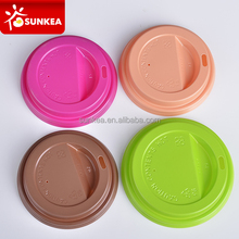 Brown red green yellow pink plastic coffee paper cup lids