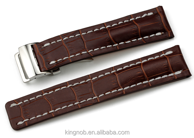 22mm 24mm High Quality Wrist Watch Band Croco Pattern Italian Leather Watch Strap