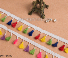 New Style 4cm Width Colorful Decorative Fringe Tassels Lace Polyster Silk Trim