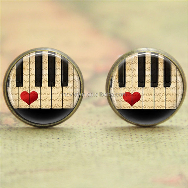 piano earring, Keyboard Musicians Art earring Music print glass earring