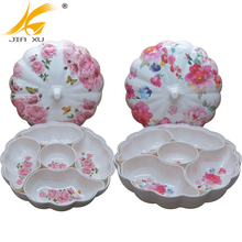 2018 New design melamine ware compartment dry fuit and snack tray set promotion gift