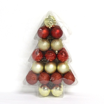6cm  Wholesale Shatterproof Plastic Christmas Ball Set With Star Can Be Customized With Logo