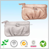 gold/silver PU cosmetic bag with clear compartments