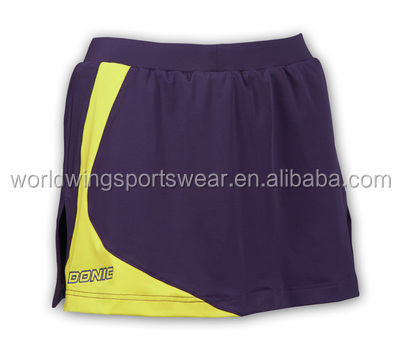 Girls custom black yellow inserts polyester coolmax with elastic waistband comfortable to wear shorts combination skirts
