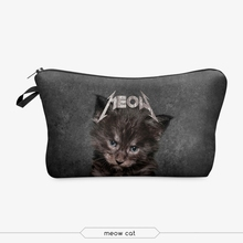 meow cat cosmetic bag 3d print cosmetic bag high quality wholesale travel makeup cases with zippers pouch purses wallets