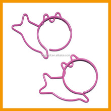 Cute cat shaped colored metal paper clips with plastic coated