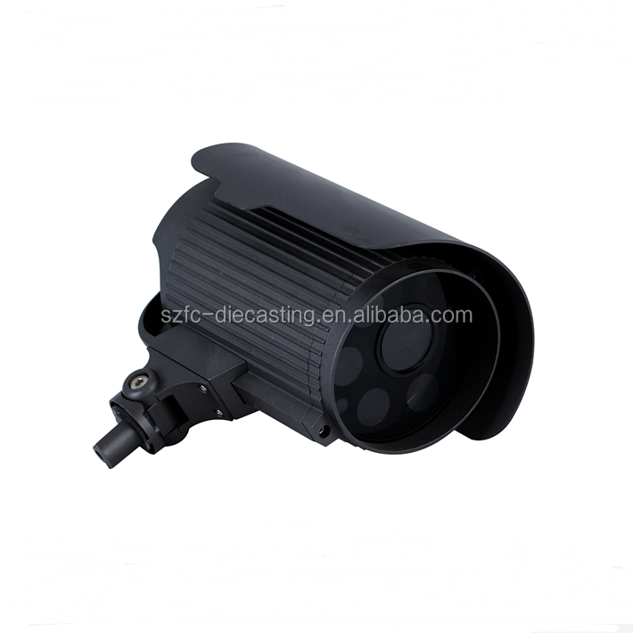 Custom Waterproof CCTV Aluminum Alloy Die Casting Housing Powder Coat Black China Supplier ISO certficated