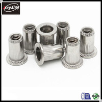 good quality M3-M12,1/4-20,3/8-16 stainless steel flat head knurled rivet nut