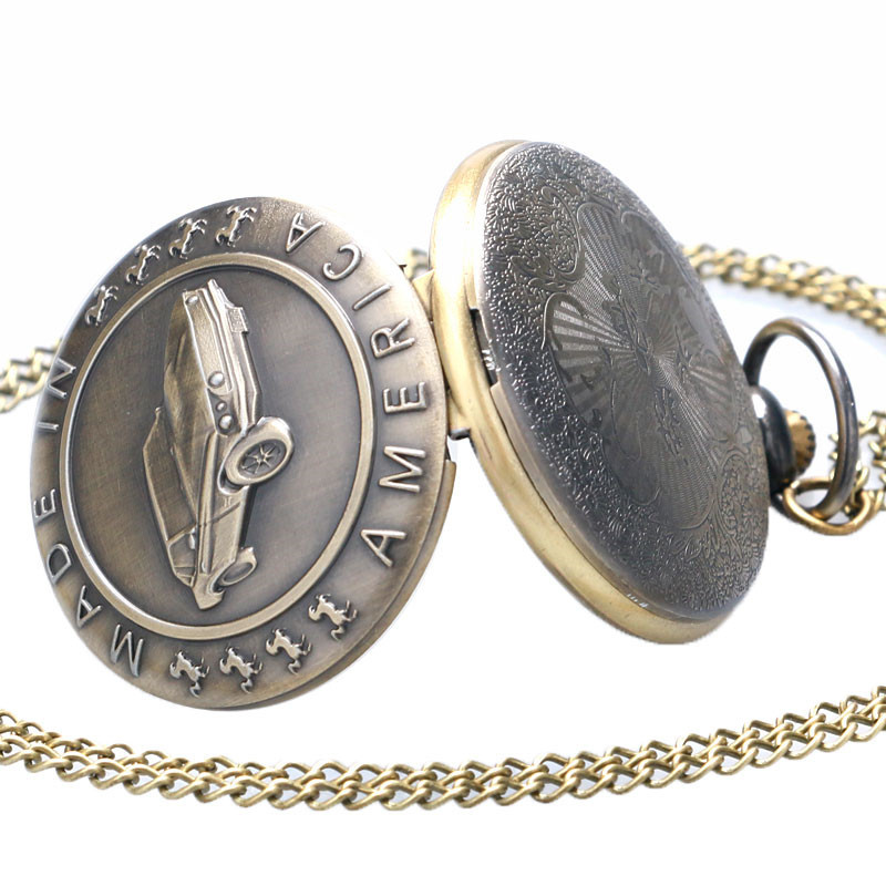 Antique Car Pocket Watch Classic Mustang Sedan Made In America Carving Pendant Chain Cool Men Clock Best Gifts for Boys Children (5)