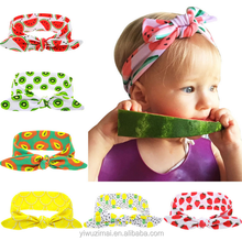 2017 Latest Summer Children Fruit Printed Elastic Knot Headband Cute Baby Rabbit Ear Hair Bands
