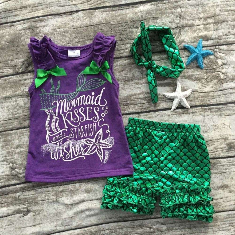 baby Girls Summer clothes baby girls boutique clothing girls mermaid kisses and starfish wishes outfits with matching headband
