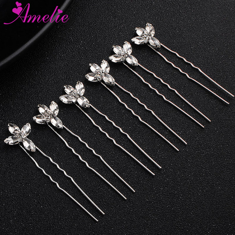6pcs/set Dainty Accessories Wedding Bridal Bobby Hair Pins Dramatic Rhinestone Burst Headpiece Girl Hair Grip