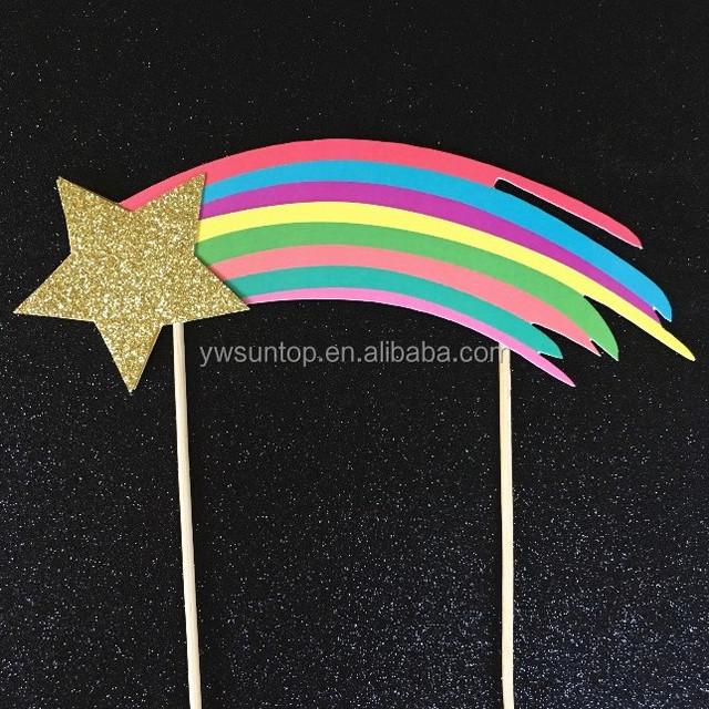 rainbow cake topper shooting glitter gold star cake topper
