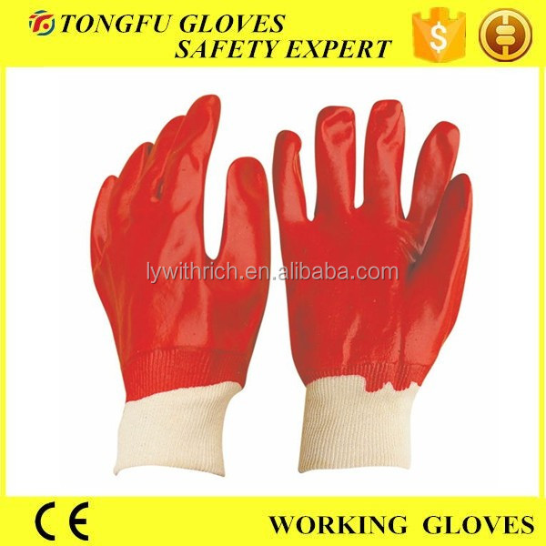 Red Oil Resistance PVC Fully Coated Gloves for Work Cotton Lining