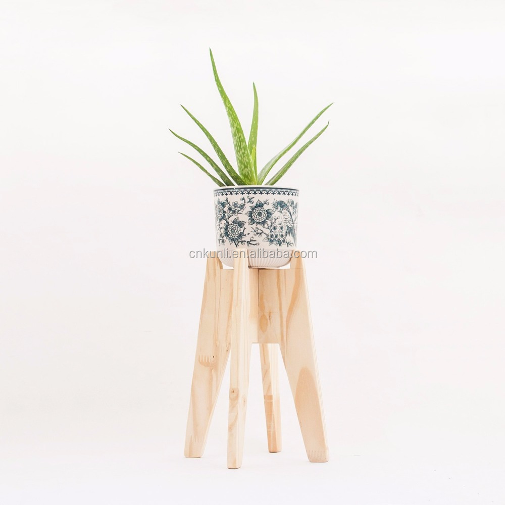 Modern wood plant stand - Minimalistic natural finish plant pot holder - Simple wooden flower pot stand