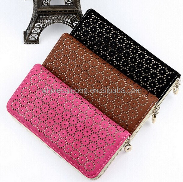 Fashion Cute Floral Cut Out Woman Leather Zip Around Wallet
