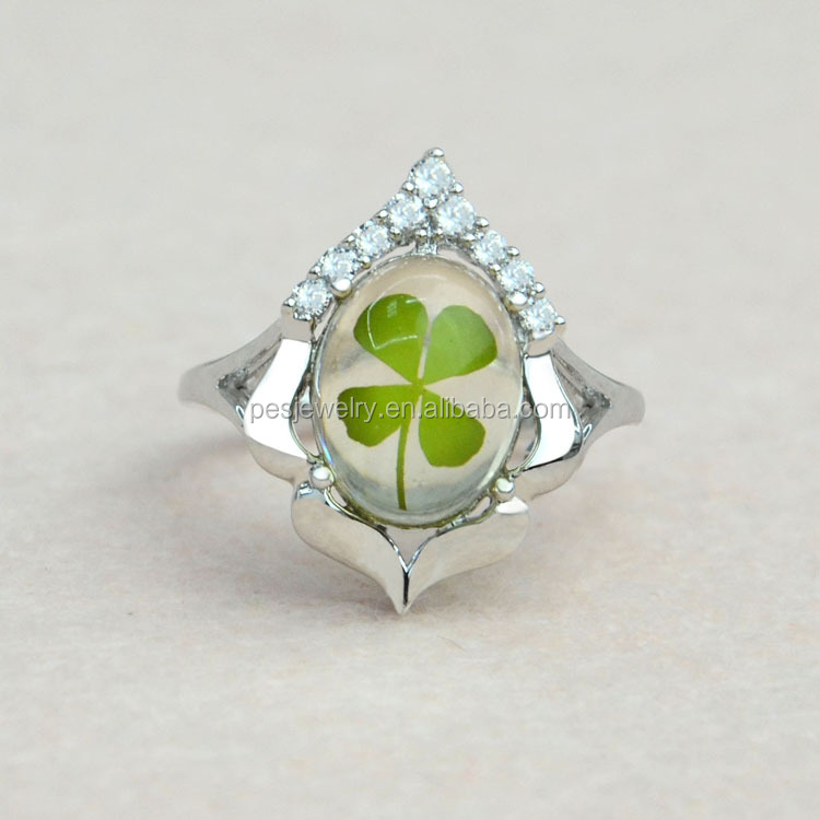 fashion jewelry really pressed flower four-leaf clovers Wedding 925 Silver Ring Rhodium Plated