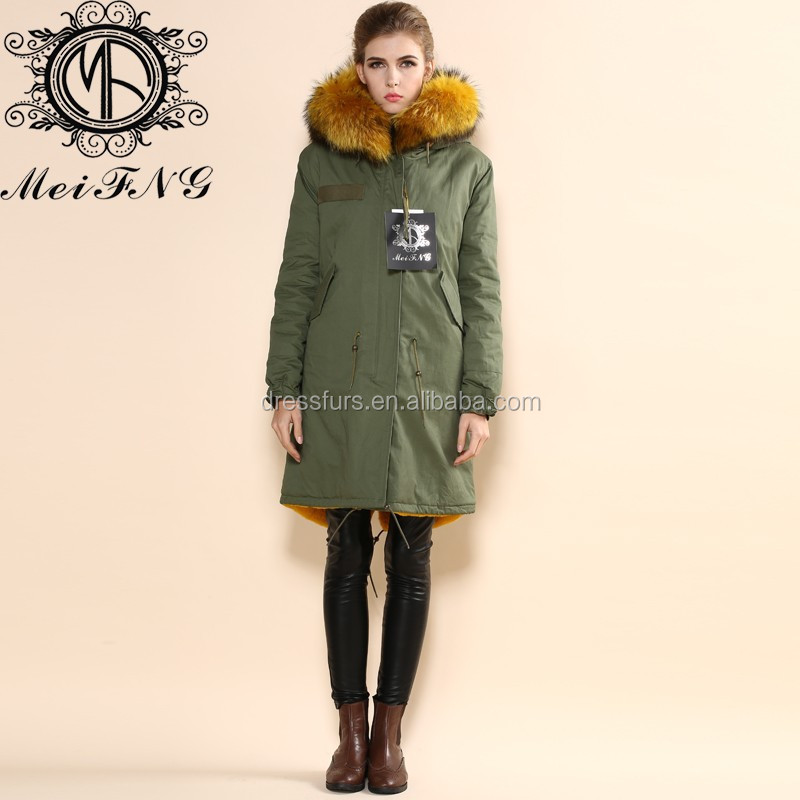 animal real yellow furs new parka style coats women fashion noble wear