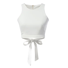 Wholesale various bulk custom blank ladies bowknot cotton crop tops