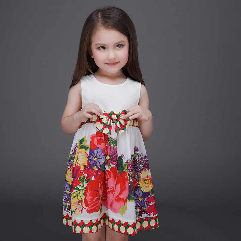 Kids Casual Dresses Little Girls Printed Fabric Princess Frock Fashions Picture