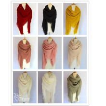 Winter New design solid plain women scarf soft cashmere oversize warm shawl