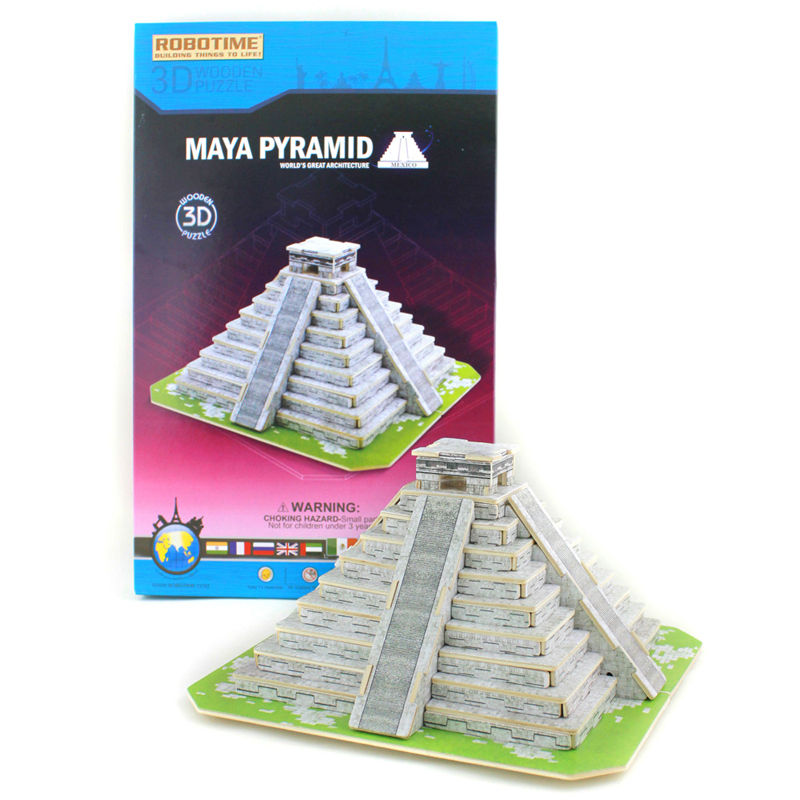 Robotime Educational toy 3D Wooden building Puzzle Maya Pyramid puzzle