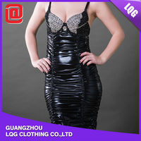 Fashion sequin leather handmade sexy dress for mature woman