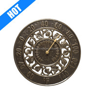 customized round decorative terracotta garden clock with thermometer