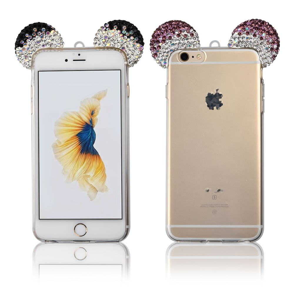 C&T 3D DIY Diamond Bling Crystal Rhinestone Lovely Mouse Ear Design TPU Shell Phone Back Case Cover for iPhone 6 6S 4.7""