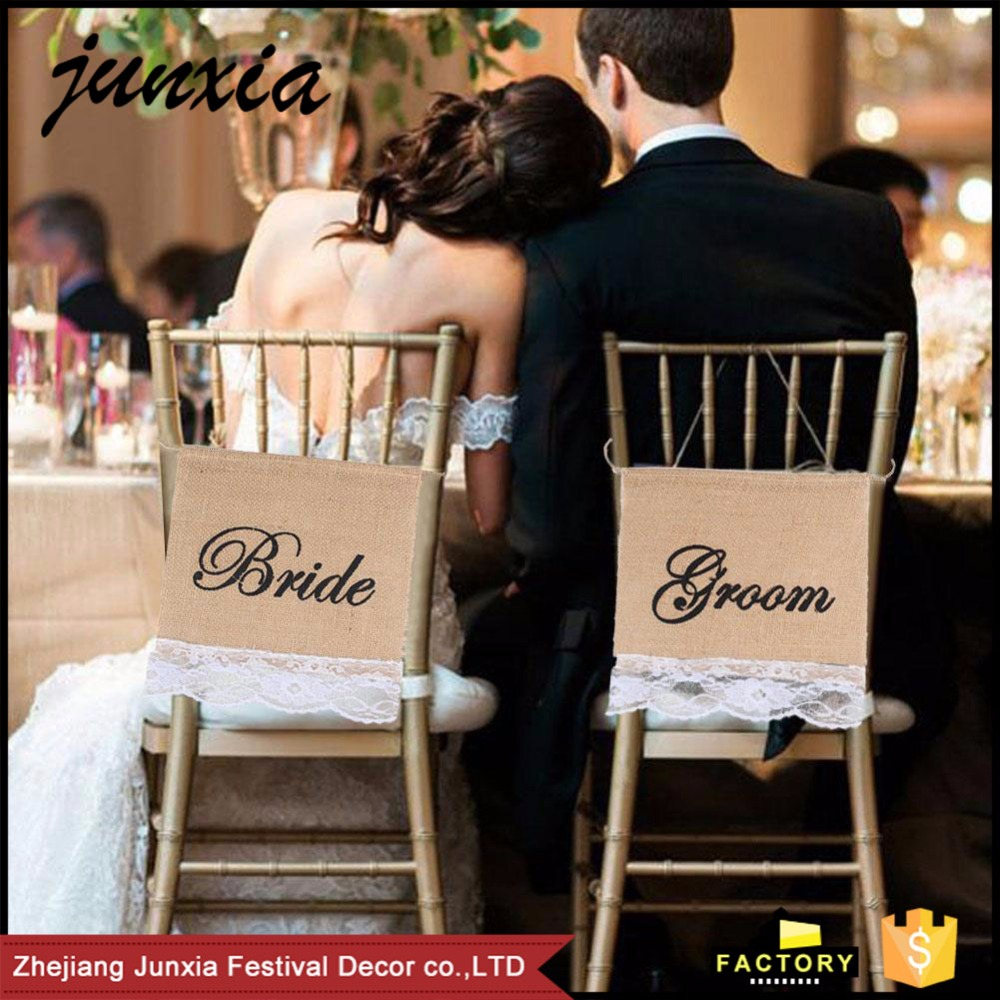Junxia Bride & Groom Wedding Party Chair Signs Burlap Banner Wedding Decor Flag Party Supplies