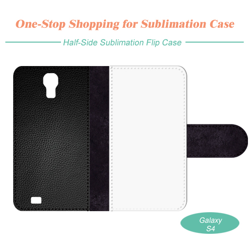 Sublimation Blank Flip Leather Mobile Phone Case, Full Cover Printing for Samsung S4