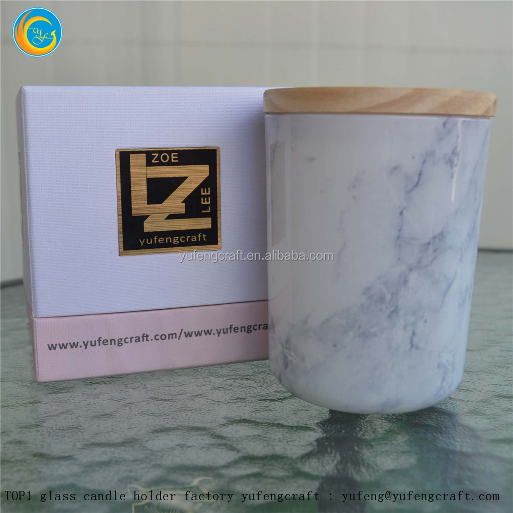 white marble glass candle containers yufeng craft