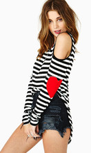 JPSKIRT1504106 Black and white stripes T-Shirt with red heart