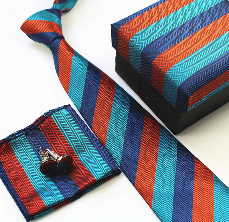 customized 2 pcs <strong>tie</strong> and cufflink set with gift box