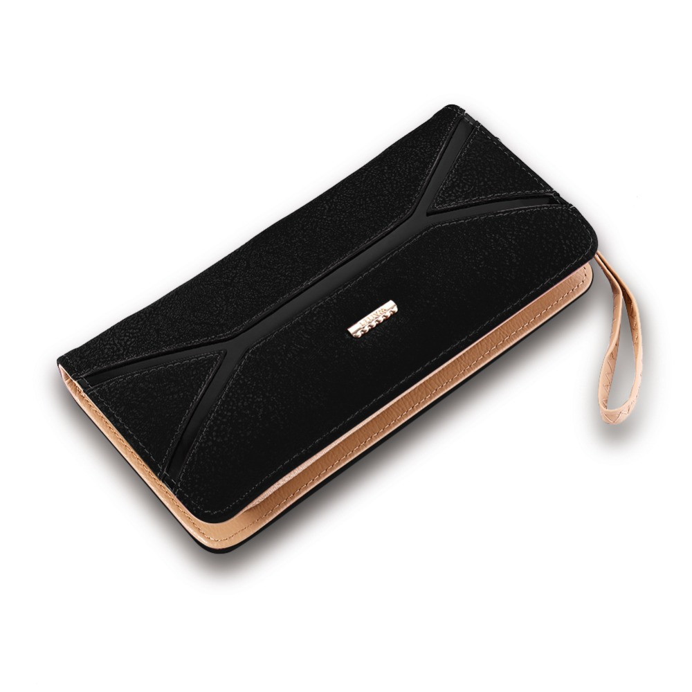 Fashion Women Long Material PU Leather Buckle Card Holder Purse Wallet Wholesale New Designed Ladies Wallet