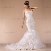 HM96837 graceful crystal beaded appliqued strapless mermaid wedding dress