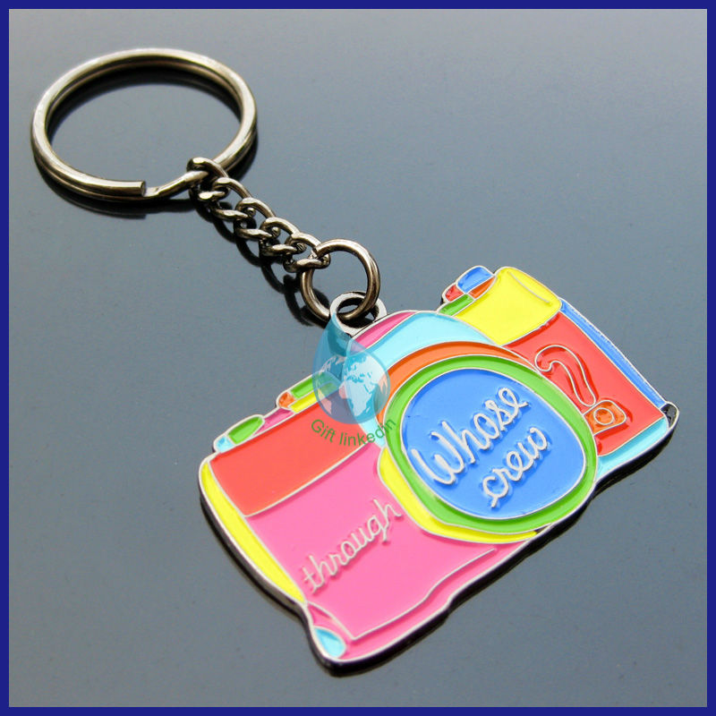 2014 Promotional die struck iron keychain/new products 2014 colorful souvenir keychain