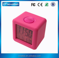 Nature Sound Digital 7 Color Changing cube shape Timer Free Alarm Clock with Thermometer