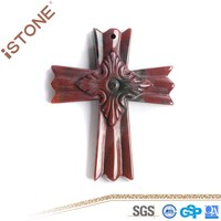 New 40*50*8.2 MM Fashion Figurine Casual Seven Color Gem Cross Crafts For Decoration & Gift