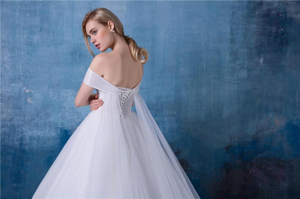 Empire Strapless Wedding Dress Removable Train