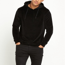 High Quality Wholesale Blank Velour Black Hoodie For Mens