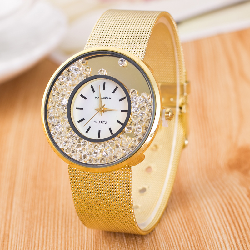 8405 New Mesh Stainless Steel Geneva Watches Women Gold Watches Luxury Business wrist watch quartz