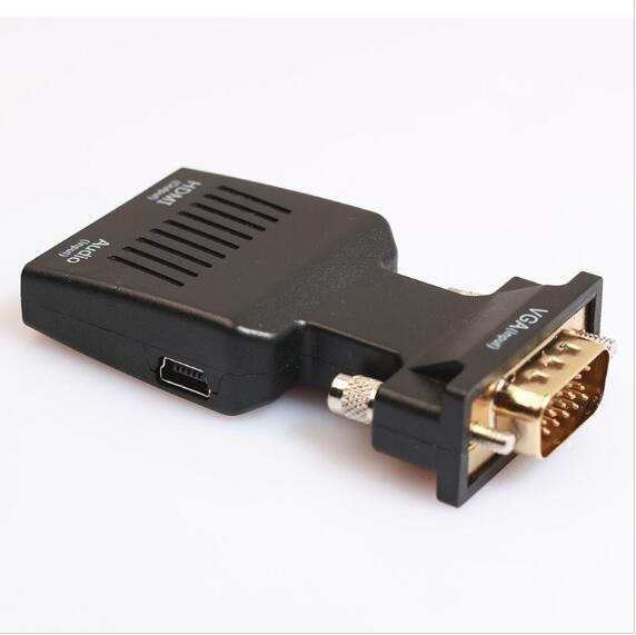 Mini audio+hd mi cable HD MI to VGA Female Video + 3.5mm Jack Audio Cable Video Converter Adapter PC Laptop DVD