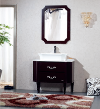 Floor mounted type contemporary bathroom cabinet vanity with top counter resin basin